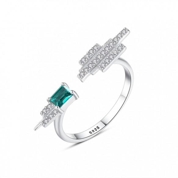 Vintage Emerald Rings Adjustable Sterling Silver Rings Creative Design