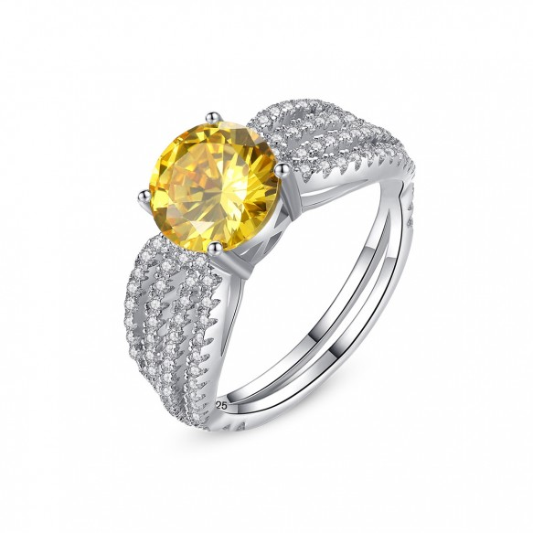 Yellow Gemstone Engagement Ring Cubic Zirconia Rings for her