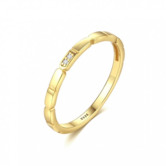 Gold Plated Sterling Silver Anniversary Bands Simple Style for Couples