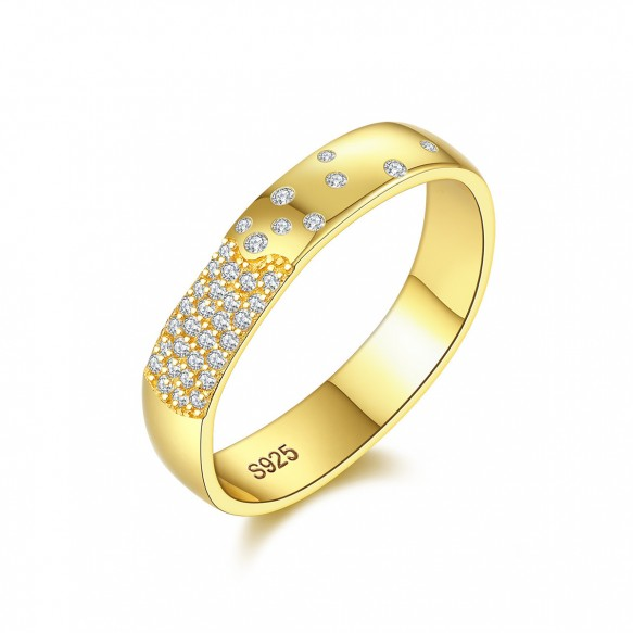 Cubic Zirconia Promise Ring 925 Sterling Silver Gold Plated