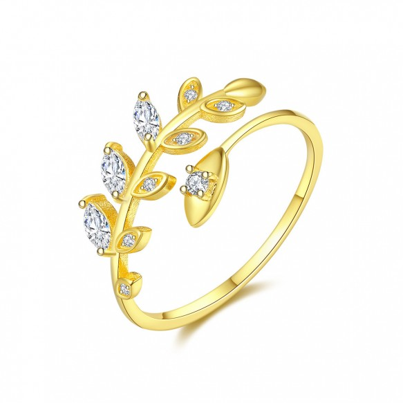 Gold Plated Vine Leaves Sterling Silver Cz Wedding Rings