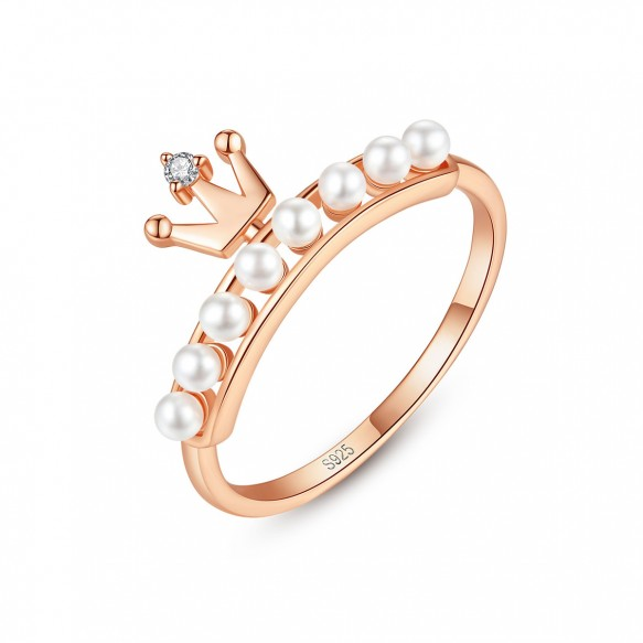 Rose Gold Pearl Engagement Ring Crown Eternity Band