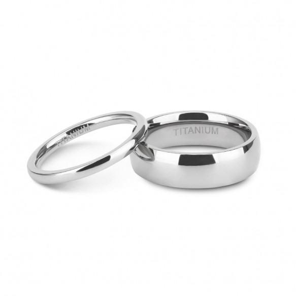 Simple Couple rings White High Polished