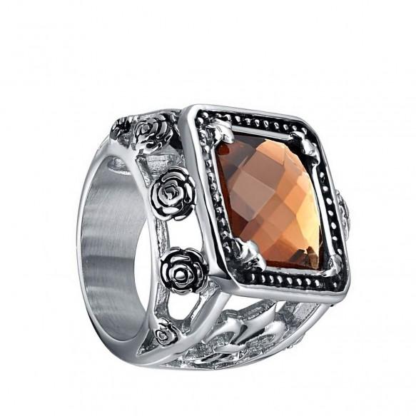 Mens Stainless Steel Rings Crystal Vintage Style Rings--1