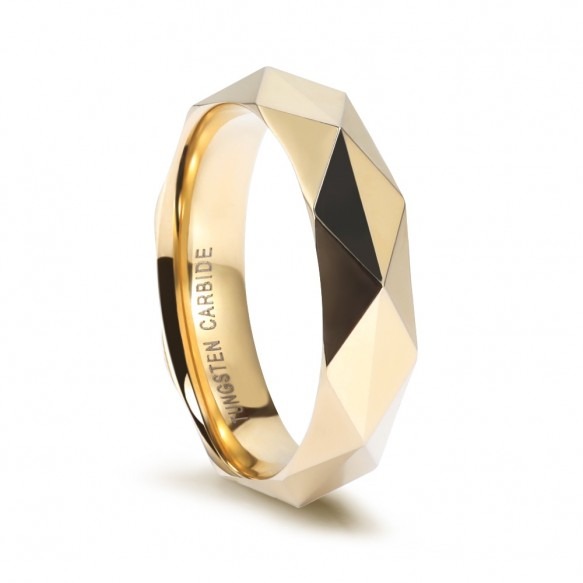 Faceted Tungsten Ring 6mm Gold/Rose Gold/Silver