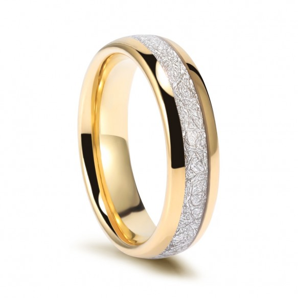 Tungsten Meteorite Wedding Bands Gold Plated