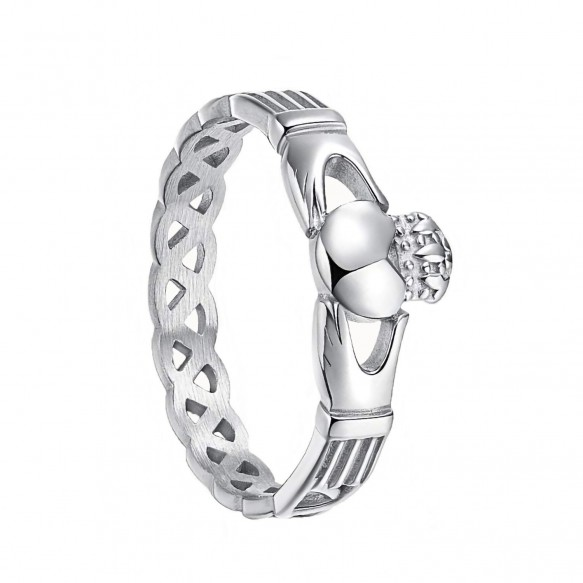 Claddagh Engagement Ring Celtic Knot Crown Stainless Steel Promise Rings-1