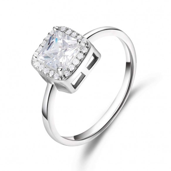 Sterling Silver Princess Cut Ring CZ Engagement Ring