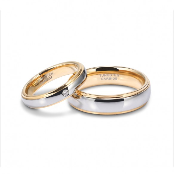 Tungsten Couple Rings his and hers Gold and Silver