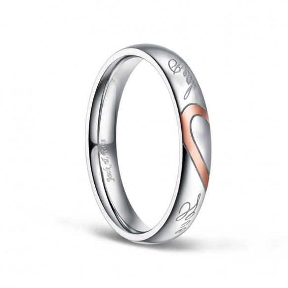 Silver and Rose Gold Women's Stainless Steel Rings Couples Real Love Heart 4mm