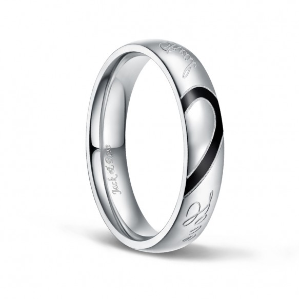 Mens Stainless Steel Rings Silver and Black Real Love Heart 5mm