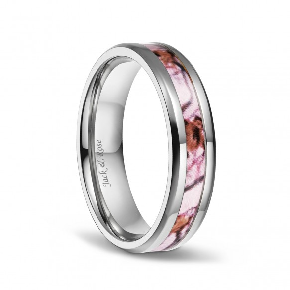Pink Camo Wedding Rings Titanium Flat for Women 6mm 8mm