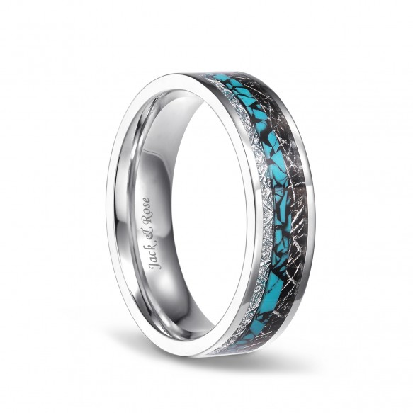 Titanium Wedding Bands with Turquoise Imitated Meteorite Inlaid