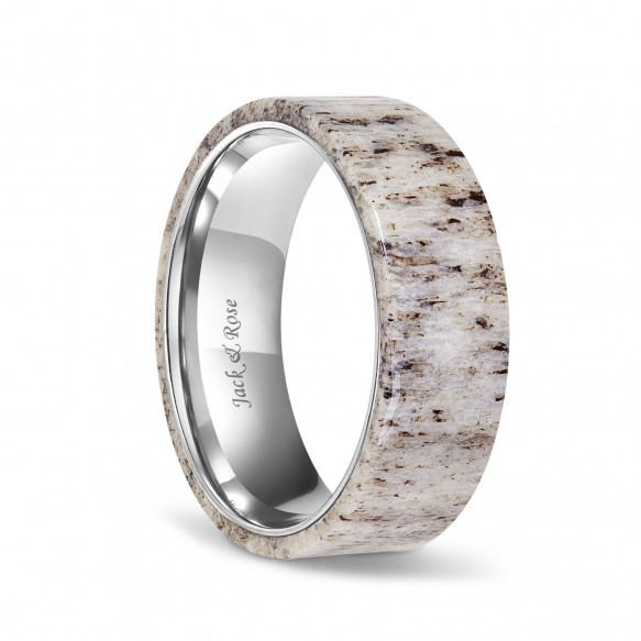 Flat Deer Antler Titanium Wedding Bands for men 8mm