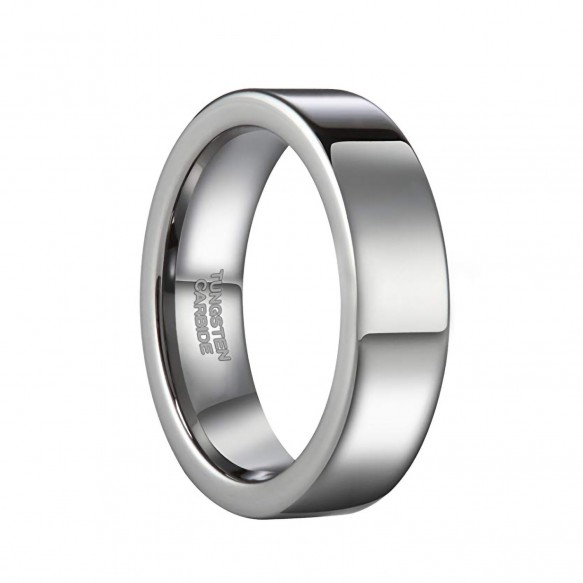Mens Wedding Bands Tungsten White Flat Style