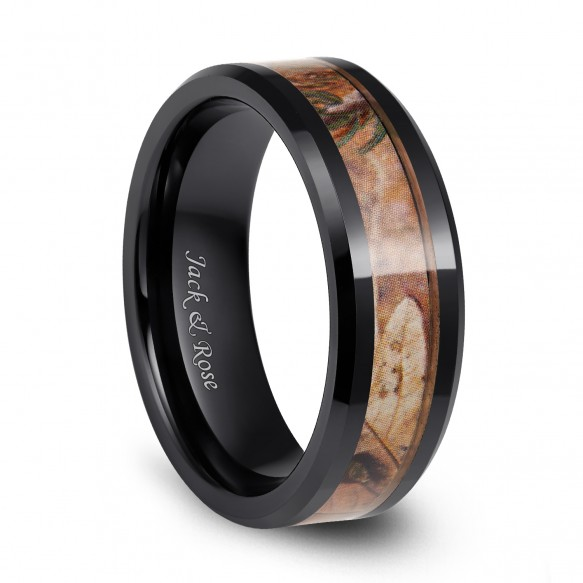 Black Ceramic Rings Camo Inlay Hunting Style Beveled Edge for men 8mm