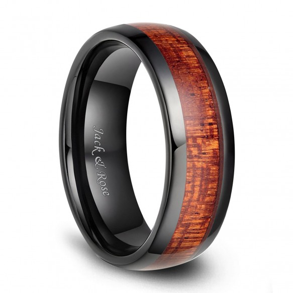Polished Wood Inlay Black Ceramic Ring Vintage Wedding Rings