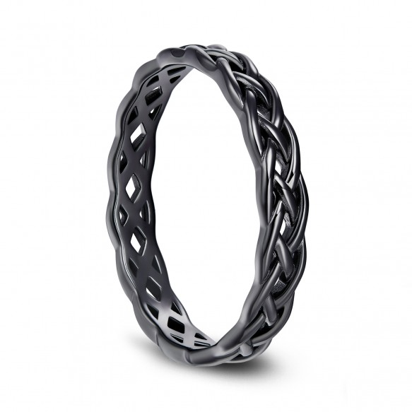 Black Sterling Silver Rings Celtic Knot  Eternity Band for Mens Womens
