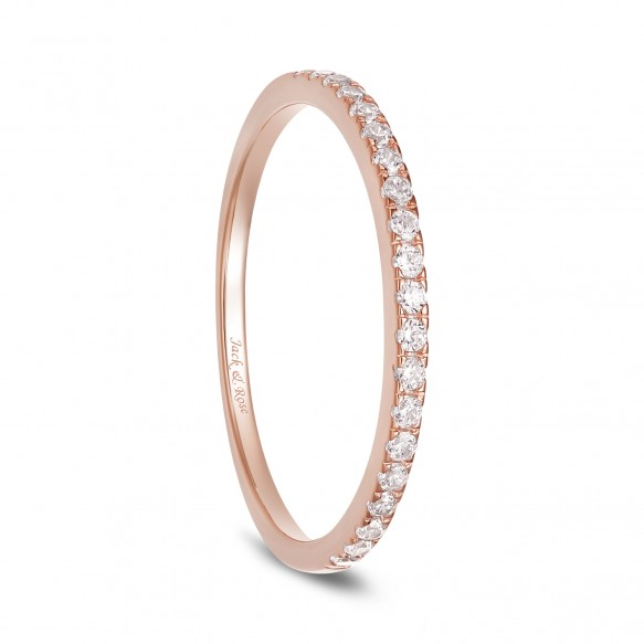 Rose Gold Cubic Zirconia Tiny Sterling Silver Rings for Women Eternity Stackable Engagement Bands
