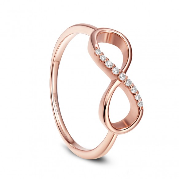 Sterling Silver Rose Gold Forever Love Promise Band Infinity Knot with Silver CZ