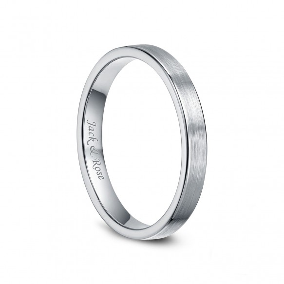White Tungsten Womens Rings Brushed Flat Style 3mm 01