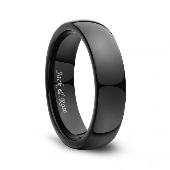 Tungsten Wedding Bands Black Dome High Polished 6mm