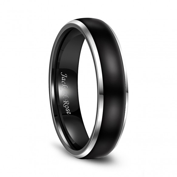 Two Tone Tungsten Wedding Bands with Black Domed Polished and Beveled Edges 6mm