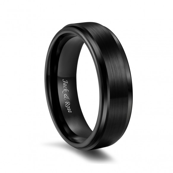 Brushed Tungsten Mens Wedding Bands Black Stepped Edge 6mm-1