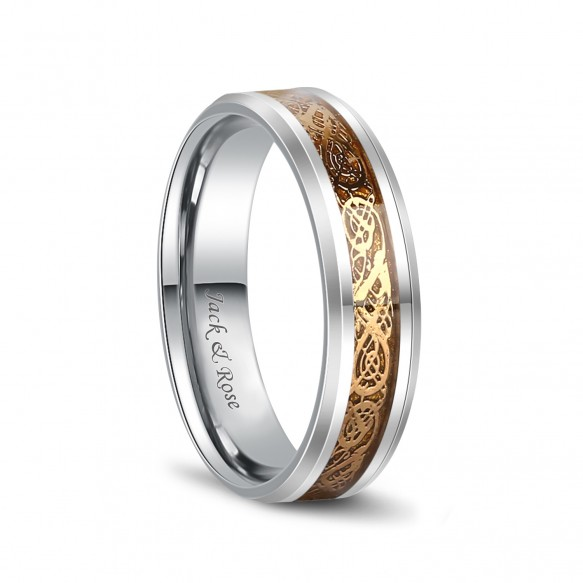 Gold Celtic Rings Dragon Tungsten Carbide Wedding Band 6mm