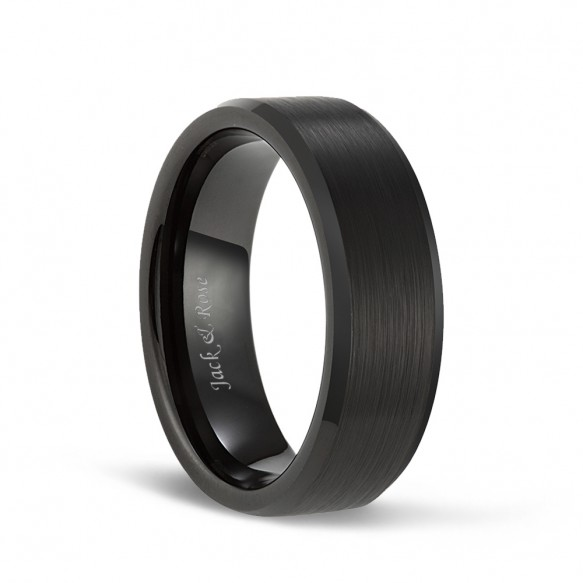 Black Tungsten Wedding Bands with Matte Brushed and Beveled Edges for Men Women 8mm