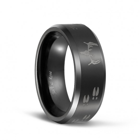 Laser Etched Deer Head Scene Black Mens Tungsten Hunting Rings-01