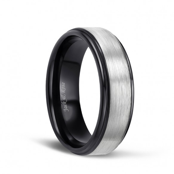 Men's Silver Brushed Tungsten Wedding rings with Black Plated 8mm-01