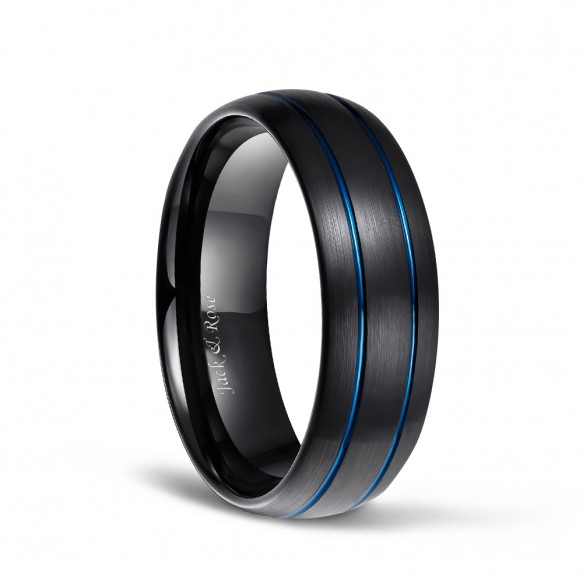 Black Tungsten Ring for Men Blue Thin Groove Line Dome Brushed Comfort Fit 8mm