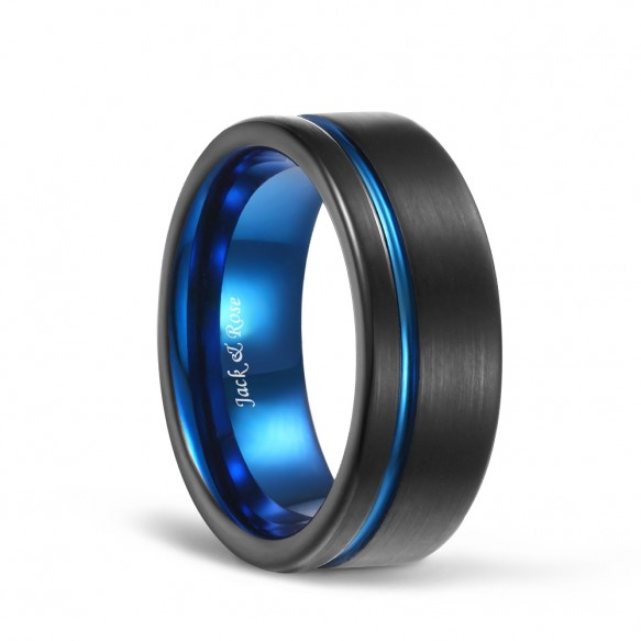 Blue Grooved Flat Edge Mens Black Tungsten Wedding Bands-01