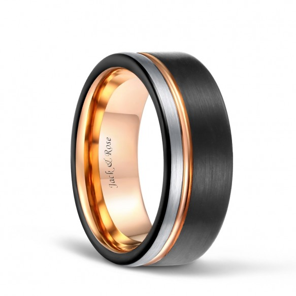 Rose Gold Line Ring & Black Edge and Silver Brushed Tungsten Carbide Wedding Band-01