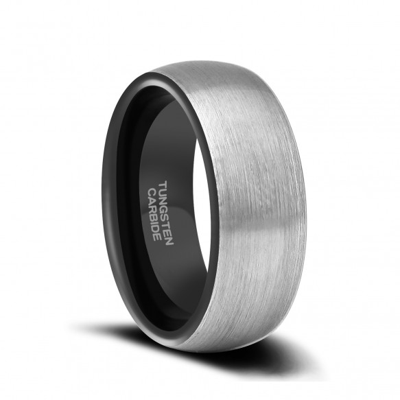 Two Tone Tungsten Mens Wedding Bands Brushed-1