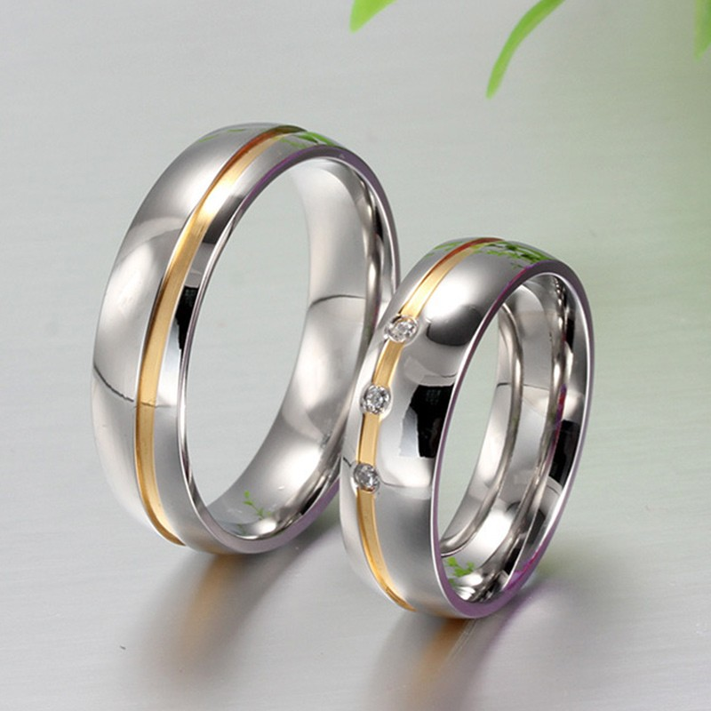 Silver Couples Promise Rings Sets Stainless&Titanium Steel ...