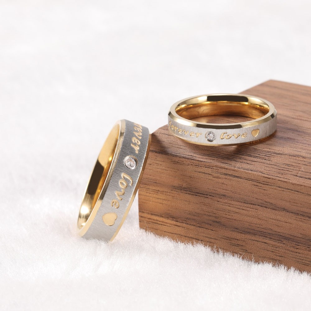 Couple Promise Ring Sets Forever Love in Titanium ...