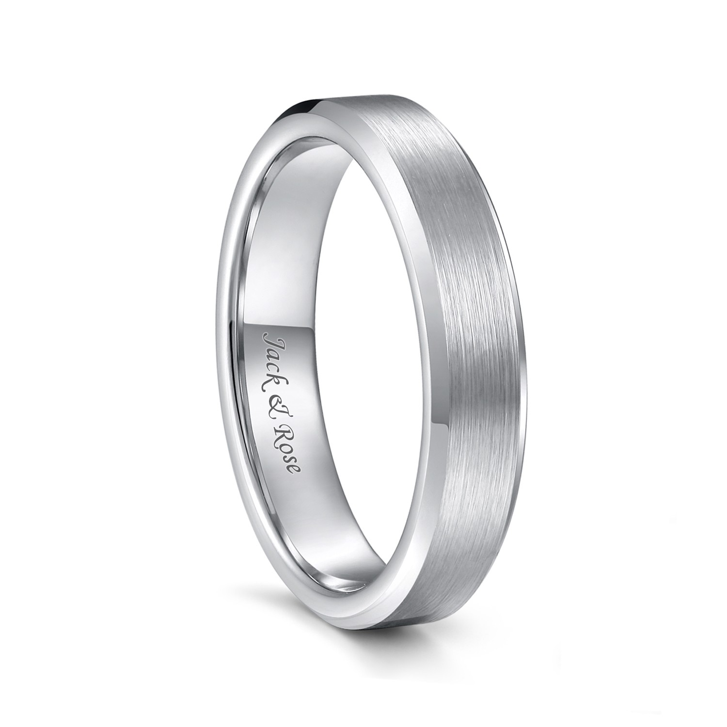 Silver Tungsten Wedding Bands For Men Women Brushed Center And Beveled Edge 4mm