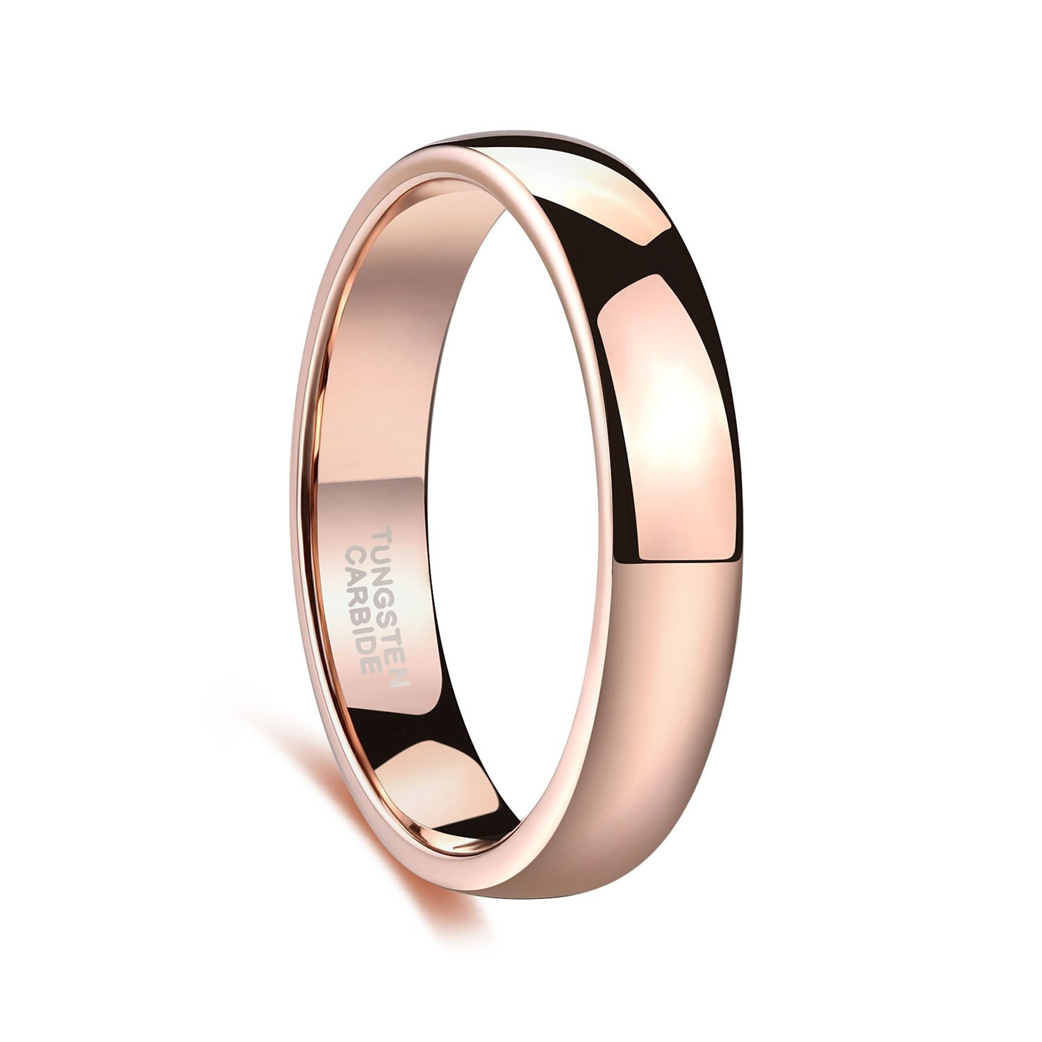 Rose Gold Tungsten Mens Womens Wedding Band Plain High Polished 4mm