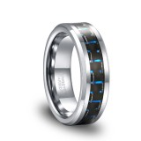 Black and Blue Carbon Fiber Inlay High Polish Men's Tungsten Wedding Band Ring 6mm 8mm-6
