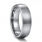 Men's Women's White Tungsten Rings Domed Brushed