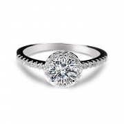 Halo Wedding Rings Inlaid Shiny Cubic Zirconia for women