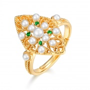 Vintage Pearl Rings Openwork Flower Style 925 Sterling Silver Rings for Women