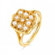 Vintage Pearl Wedding Rings Gold Plated in 925 Sterling Silver