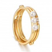 Pearl and Cz Band Ring Sterling Silver Stackable Rings Fashion Style