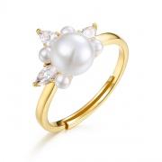 Pearl Engagement Rings Sterling Silver Princess Crown Rings