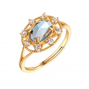 Natural London Blue Topaz Ring Vintage Engagement Rings