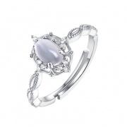 Sterling Silver Moonstone Rings Adjustable Vintage Rings