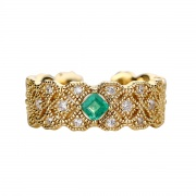 Natural Emerald Rings Openwork Adjustable Sterling Silver Rings